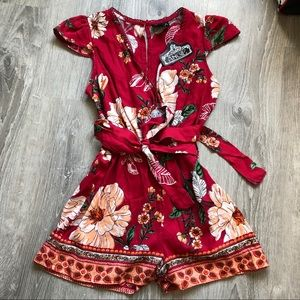 NWT Red Floral Romper
